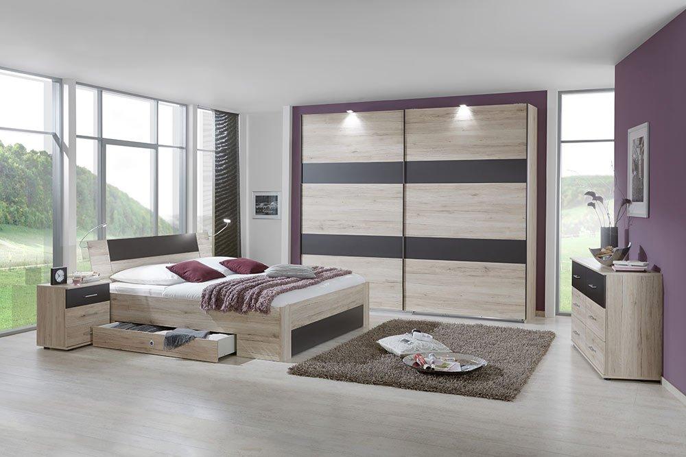 4-tlg-Schlafzimmer in San Remo-Eiche-NB mit lavafarbigen Abs., Schwebetürenschrank B: 225 cm, Bett mit Schubkästen B: 180 cm, 2 Nachtschränke B: 52 cm