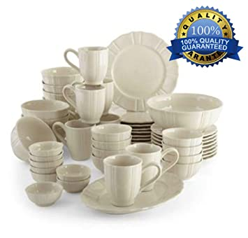 Bon 50pc Dinnerware Set Best Family Size White Kitchen Dining Dishes Sets Ideal  For Parties Weddings Casual