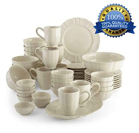 50pc dinnerware set best family size white kitchen dining dishes sets ideal for parties weddings casual