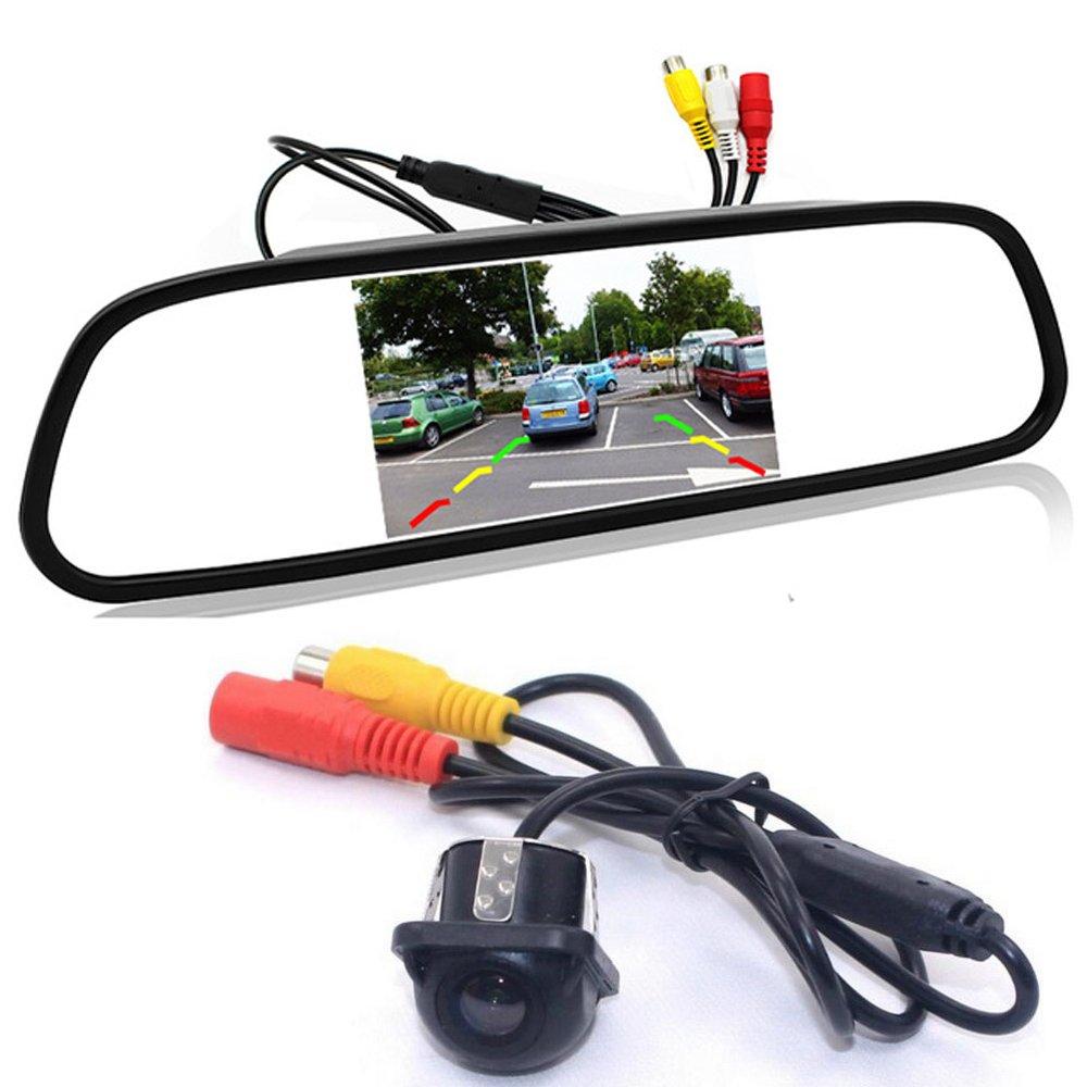 GOFORJUMP Asistencia de estacionamiento de video automá tico, HD Monitor de espejo retrovisor a color 4.3' LCD a color + Cá mara de visió n trasera CCD de visió n nocturna MiNi