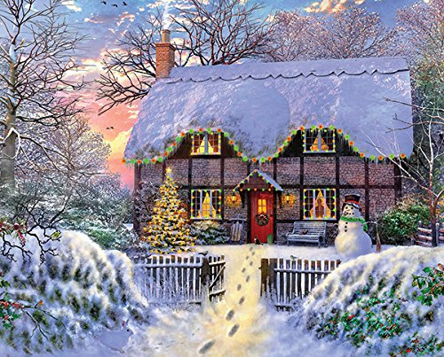 Springbok Puzzles - Yuletide Cottage - 1000 Piece Jigsaw Puzzle - Large 24 Inches by 30 Inches Puzzle - Made in USA - Unique Cut Interlocking Pieces
