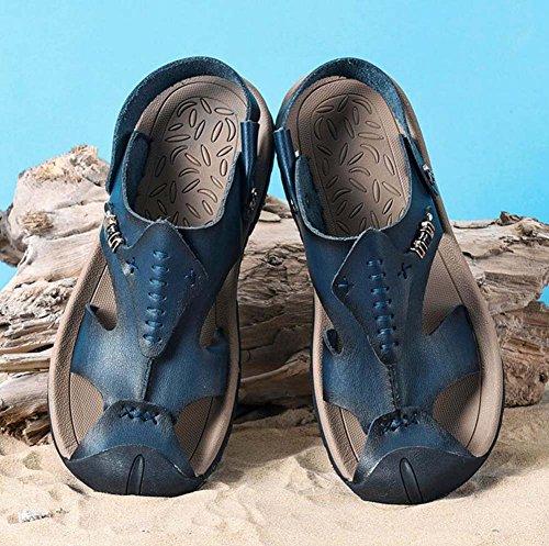Sandali uomo estate suola antiscivolo pelle britannica traspirante Blue Baotou sandali taglie Ydxwan casual 45 da con scarpe traspiranti 38 in spessa pelle in pantofola q4wXtSd
