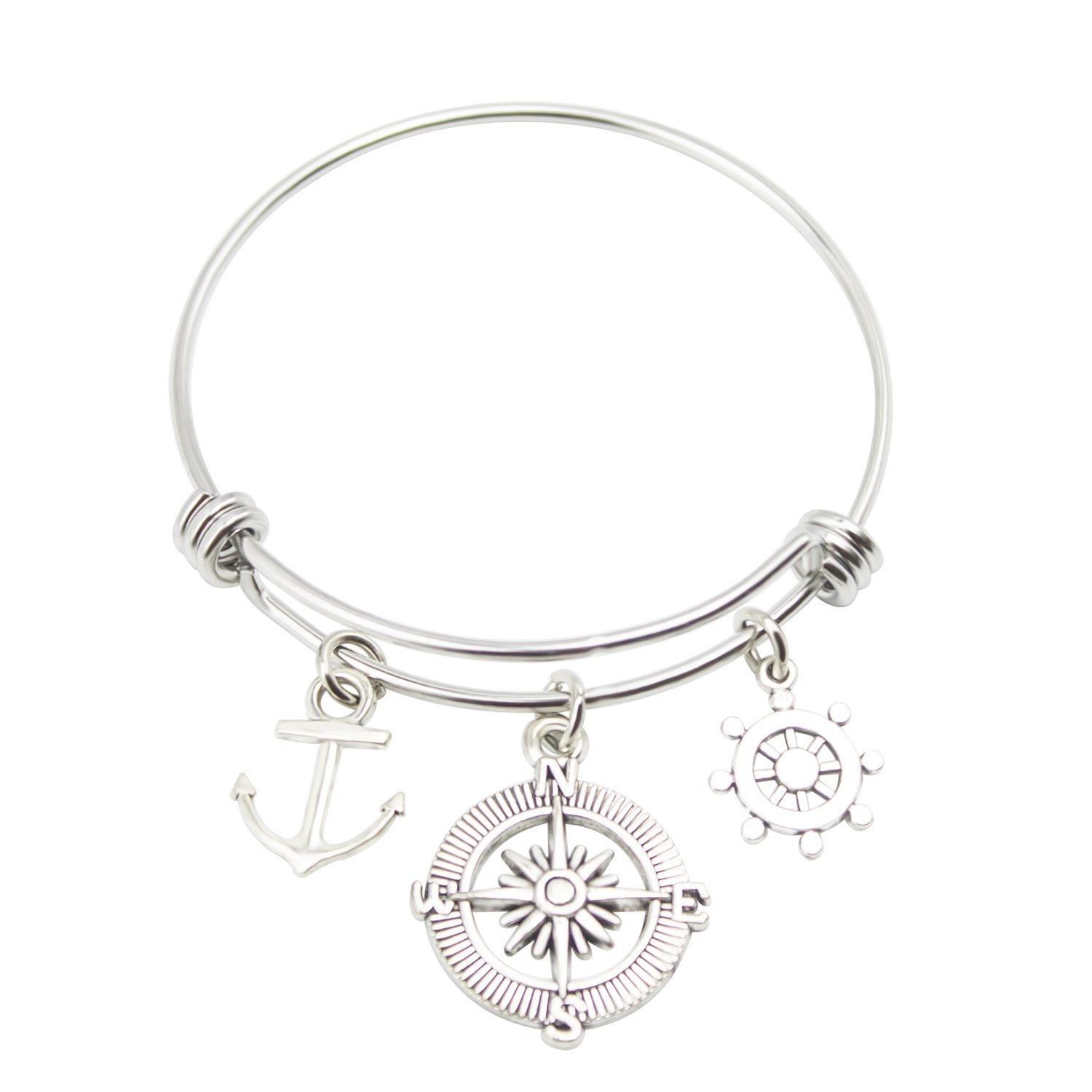 Zizh Travel Bangle Compass Bracelet Stainless Steel Expandable wire Bangle Rudder Anchor Charm DIY Jewelry Gift for Traveler