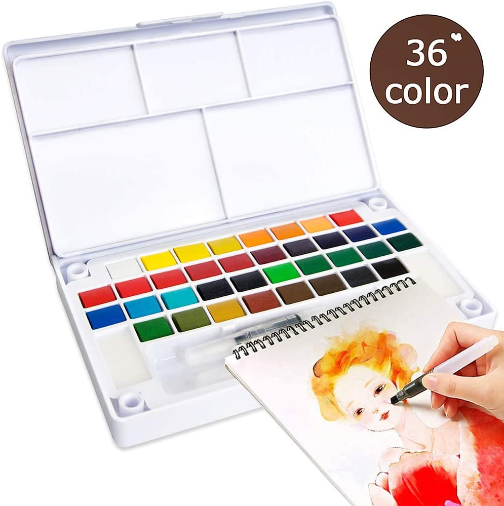 Kids Drawing Gifts Travel Pocket Watercolor Kit Field Sketch Outdoor Painting Set 42 Colors Watercolor Paint Set and Water Brushes Palette Adults Portable Watercolor Set for Artists