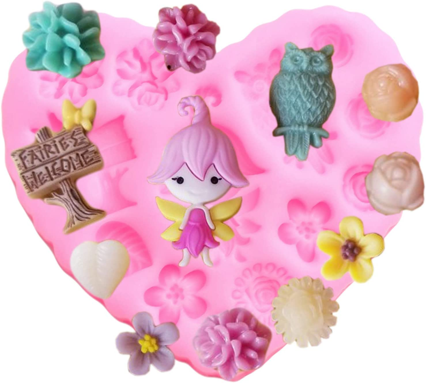 Fairy Garden Flower Silicone Mold for DIY Gum Paste Fondant Mold Ice Cube Candy Cupcake Cake Topper Decoration Crystal Chocolate Desserts Soap Mould Pudding Jelly Shots Handmade Ice Cream