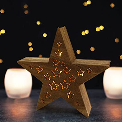 bright zeal 3d wooden five pointed star led lights 14 wide star 8hr - Led Light Christmas Decorations