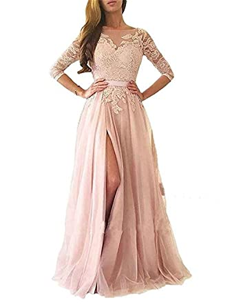 a60130efd89 BRLMALL Women s Long Lace Tulle Evening Prom Dresses Half Sleeves High Slit Formal  Party Gowns Backless BPM41 at Amazon Women s Clothing store