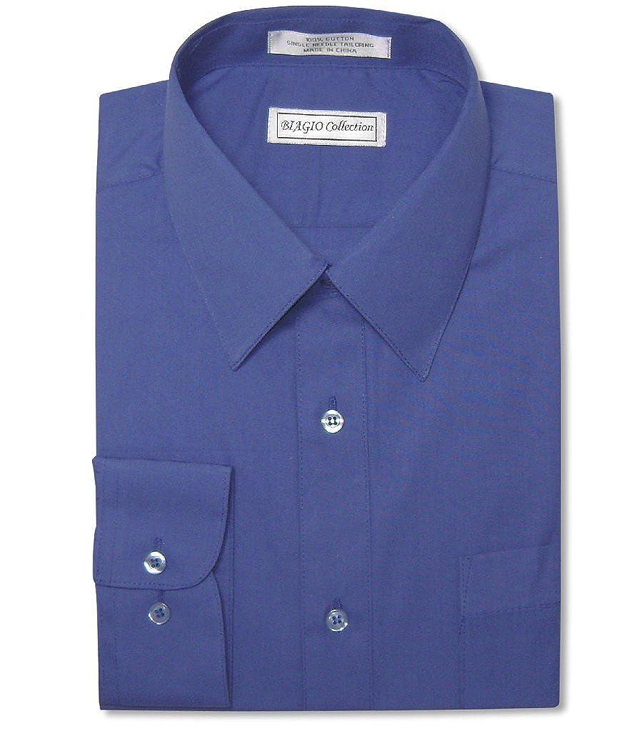Biagio Mens 100 Cotton Solid Royal Blue Color Dress Shirt W