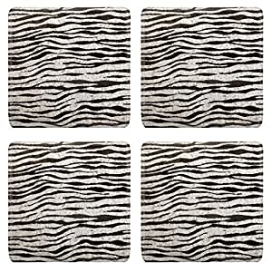 Liili Natural Rubber Square Coasters IMAGE ID: 5872075 imitation zebra leather animal texture background in black and white