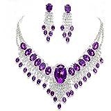 Affordable Wedding Jewelry Purple Clear Rhinestone Cascade Earrings Silver Necklace Set