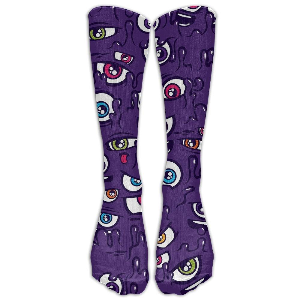 Style Unisex Socks Casual Knee High Stockings One Eyed Purple People Eater Pattern Cotton Socks One Size