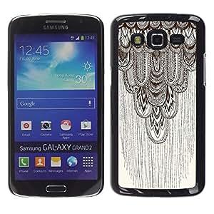 Beige Motif Feather - Metal de aluminio y de plástico duro Caja del teléfono - Negro - Samsung Galaxy Grand 2