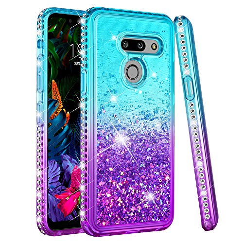 Ruky LG G8 ThinQ Case, LG G8 Case, Gradient Quicksand Series Glitter Flowing Liquid Floating Bling Diamond Soft TPU Girls Women Phone Case for LG G8 ThinQ (Aqua) (Bling Cases For Phone)