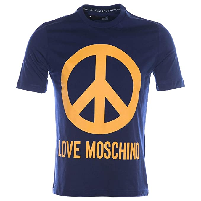c2b45b6e Moschino Peace Sign T Shirt in Blue: Amazon.co.uk: Clothing