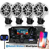 GoldenHawk USA 3'' Motorcycle Waterproof Bluetooth Wireless Speaker 7/8-1 in. Handlebar Mount MP3 Music Player Sound Audio Stereo Amplifier System ATV UTV w/3.5mm AUX IN, USB 2.0, micro SD, FM Radio