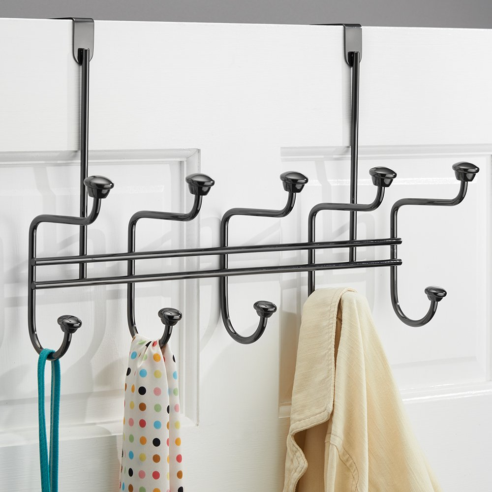 mDesign Over-The-Door 10-Hook Rack for Coats, Hats, Robes, Leashes for Closet - Pack of 2, Bronze MetroDecor 6861MDCO