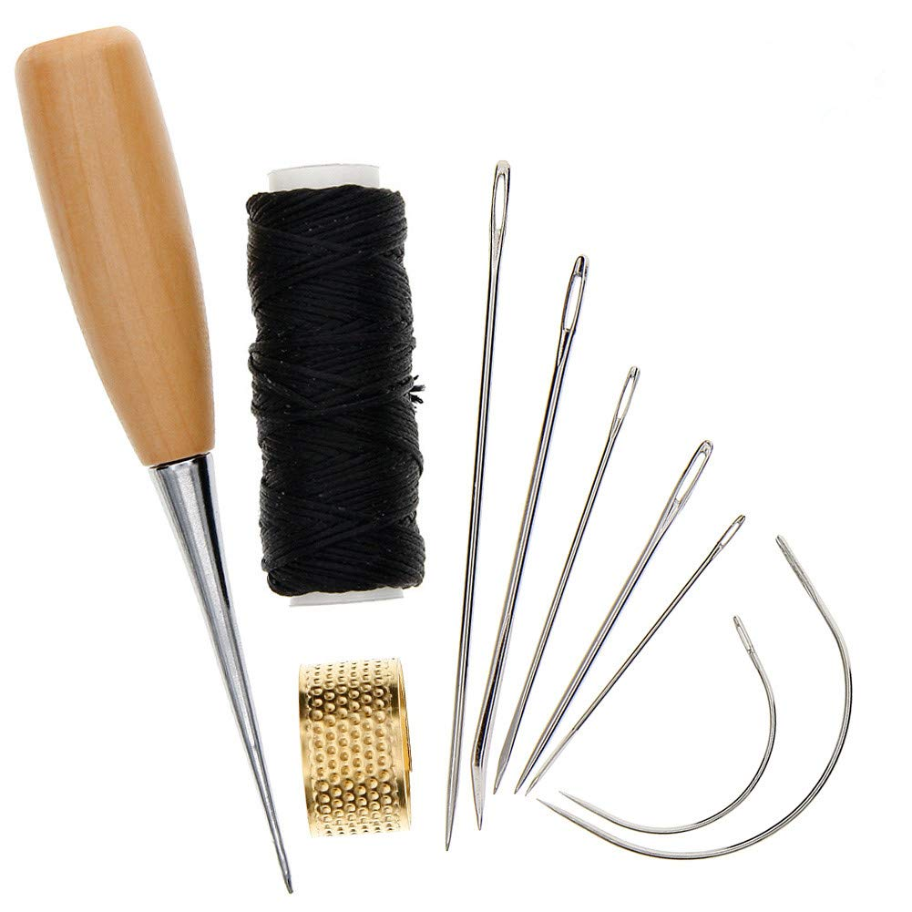 KeyZone 7 Pieces Hand Sewing Needles with Leather Waxed Thread Cord Drilling Awl and Thimble for Upholstery Carpet Leather Repair