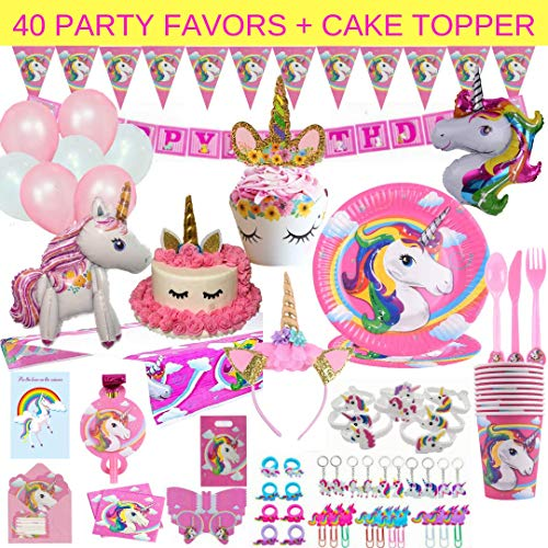 Unicorn Party Supplies  197 pc Set With Unicorn Themed Party Favors Pink Unicorn Headband for Girls Birthday Party Decorations Unicorn Balloons Pin the Horn on the Unicorn Game and more| Serve 10
