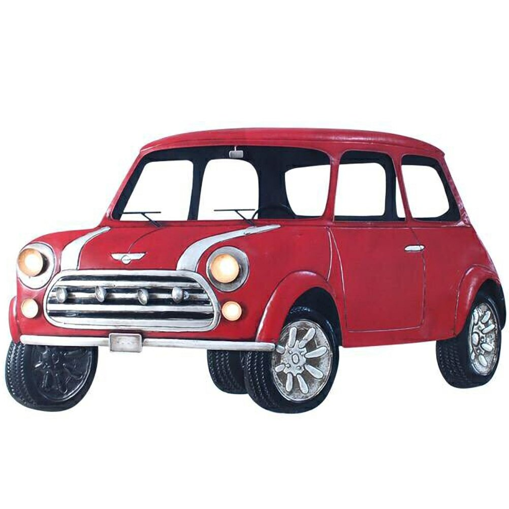Car red wall decoration embossed 80 cm by Rétro