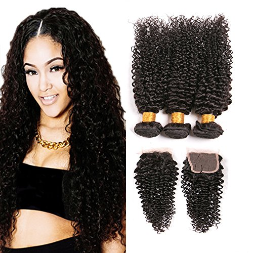 Brazilian Kinky Curly Closure And 3 Bundles Lace Front Closure With Baby Hair Bleached Knots Remy Unprocessed Virgin Hair Wholesale Deals Top Quality Dark Brown 14 16 18 +12 Inch