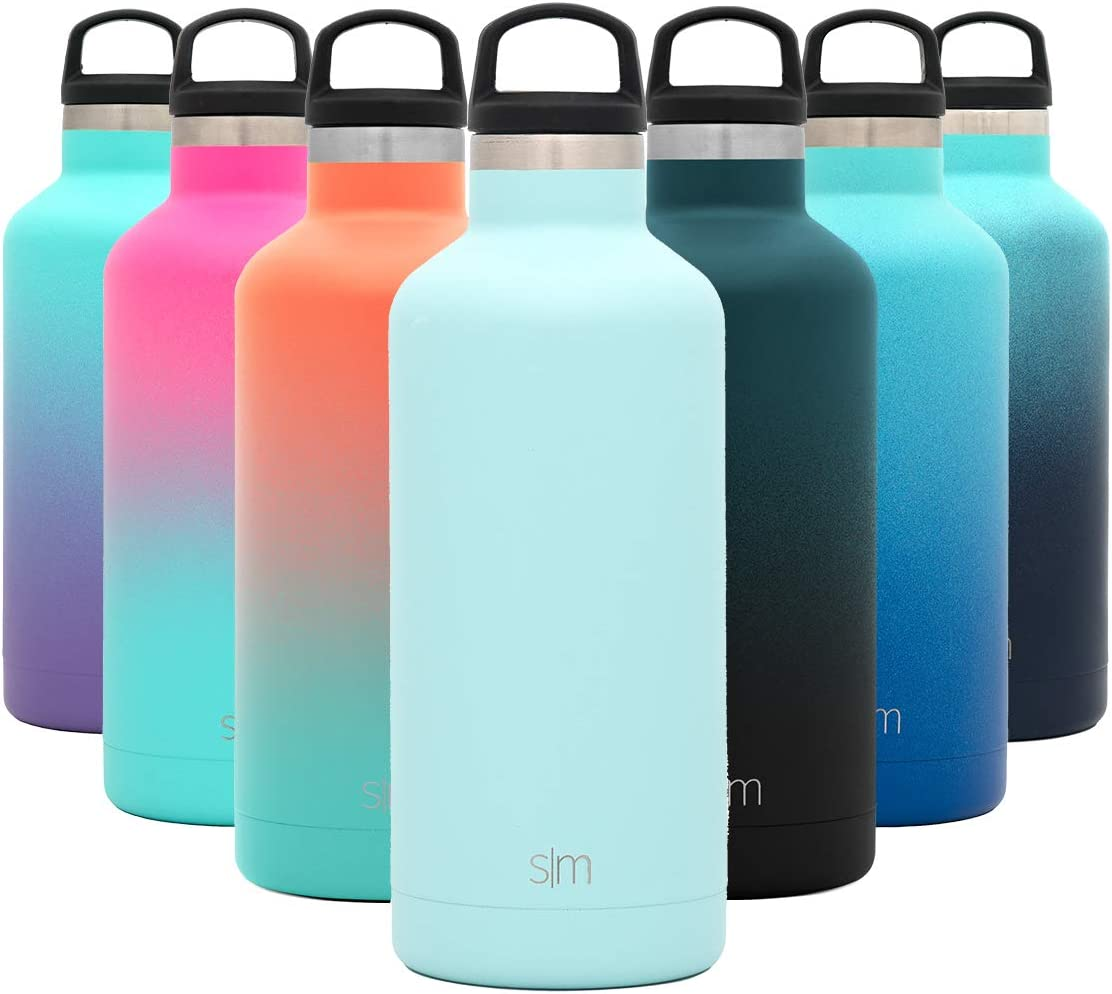 Simple Modern 32oz Ascent Water Bottle - Hydro Vacuum Insulated Tumbler Flask w/Handle Lid - Blue Double Wall Stainless Steel Reusable - Leakproof: -Seaside
