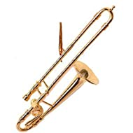 "4"" Gold Trombone Ornament"