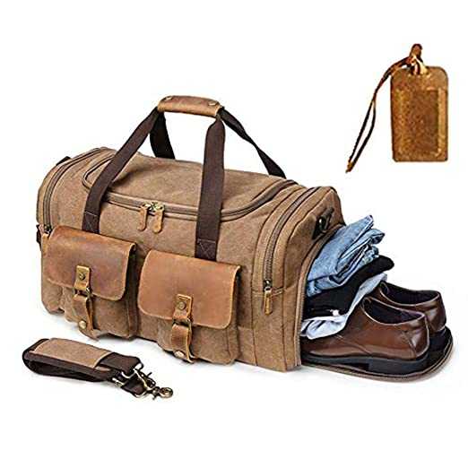 7b8281276aa1 Kemy's Canvas Duffle Bag Oversized Genuine Leather Weekend Bags for Men and  Women