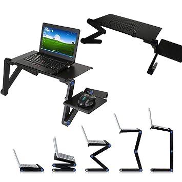 Xemz - Escritorio Plegable para Ordenador portátil, portátil, Mesa de Ordenador con ratón, Soporte Antideslizante para Libros, Bandeja de Desayuno: ...