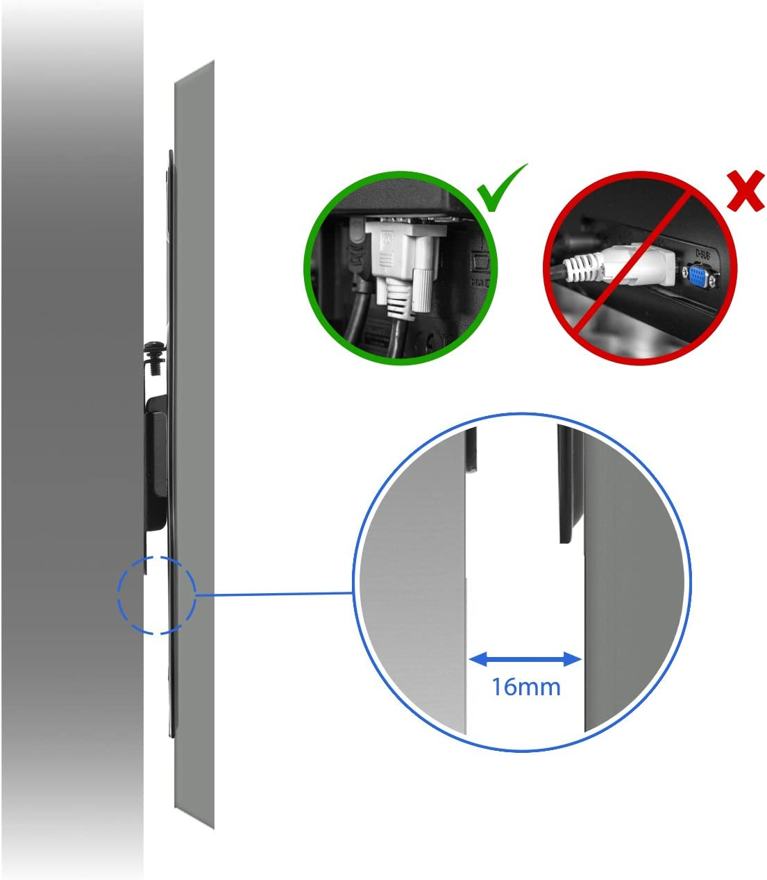 hasta 30kg /& VESA 200x200mm TV Soporte de Monitor deleyCON Universal TV y Monitor Soporte de Pared 17-47 Pulgadas Distancia de la Pared s/ólo 16mm 43-119cm
