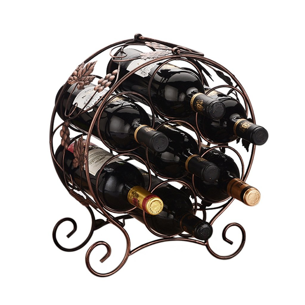 He Xiang Firm Wine rack with handle 7 bottles of wine rack home bar iron wine rack ornaments