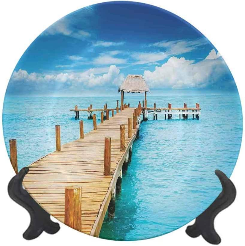 "Tropical 10"" Ceramic Decorative Plate,Bungalow on Clear Sea Travel Destination Beach Seascape Exotic View Dinner Plate Decor Accessory for Dining,Parties,Wedding Pale Brown Blue Aqua"