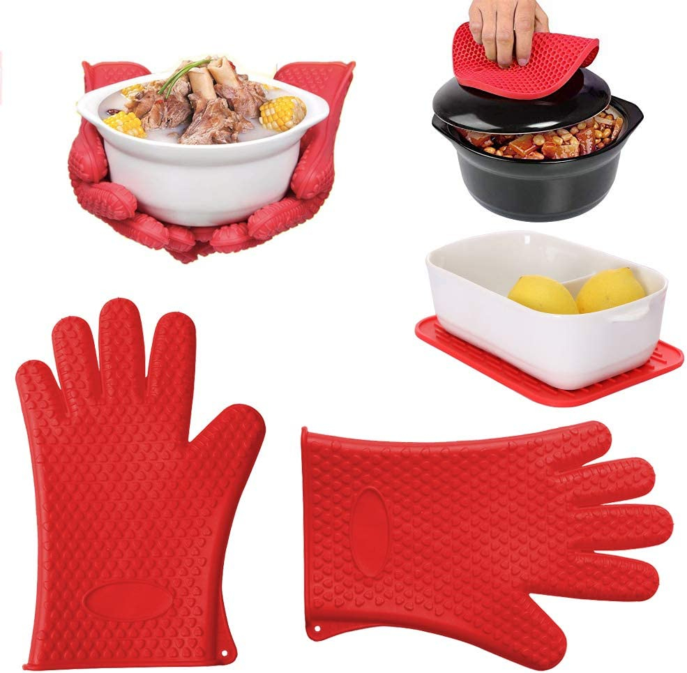 Silicone Cooking Gloves - Heat Resistant Oven Mitt for Grilling, BBQ, Kitchen - Safe Handling of Pots and Pans - Cooking & Baking Non-Slip Potholders (1 Pair) - with 2 Trivet Mats/Hot Pads, Pot Holder
