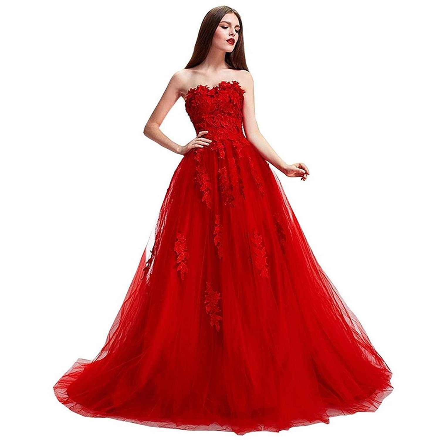 Ebelz Red Strapless Brush Wedding dress 2016 hot sale sweet