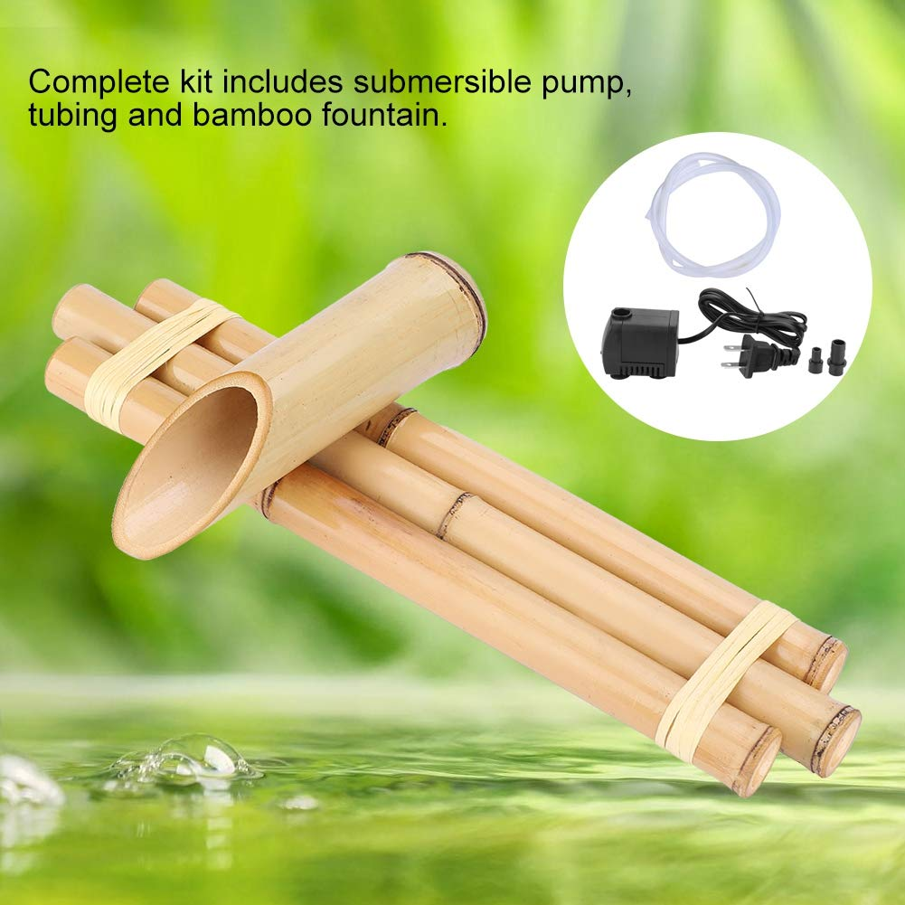 Bamboo Fountain with Pump 16 Inch Medium Adjustable Indoor Outdoor Fountain Three Arm Style with Natural Handmade Split Resistant Bamboo US Plug 110V