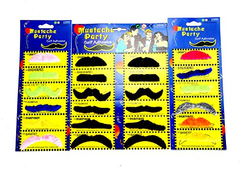 [Fake Mustache by Jmean Novelty and Toy, Pack of 24 Mustaches] (Fake Mustache Kit)