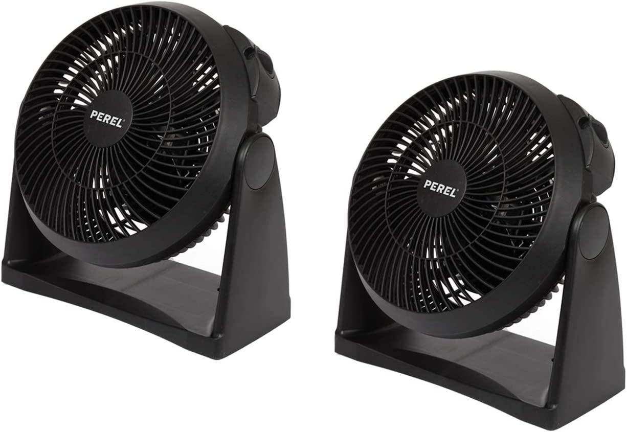 Lot de 2 ventilateurs pratiques pour table ou ventilateur mural avec 3 niveaux de puissance /Ø 20 cm Noir