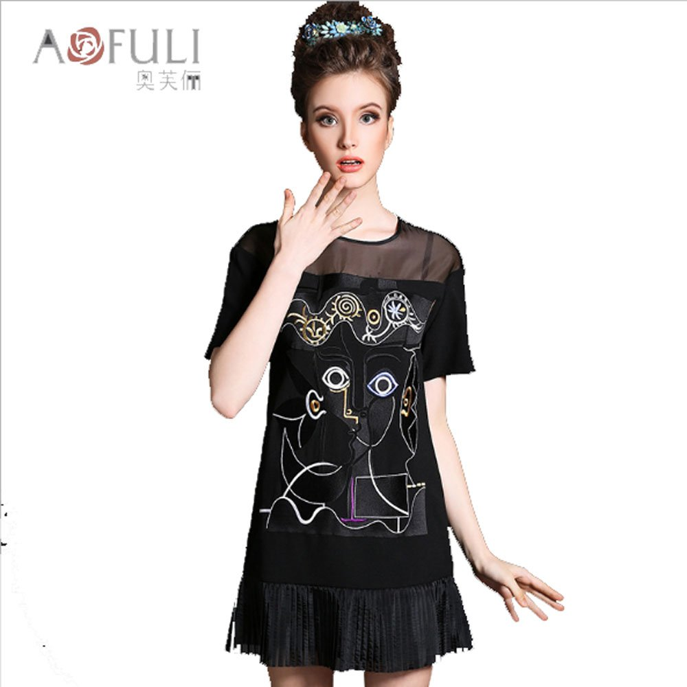 Summer wear new dress large size women's clothing embroidery pleated organza dress wholesale (3XL)
