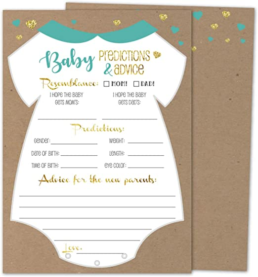 Gender-neu with a beautiful keepsake box Baby Shower Prediction Cards 50 pack