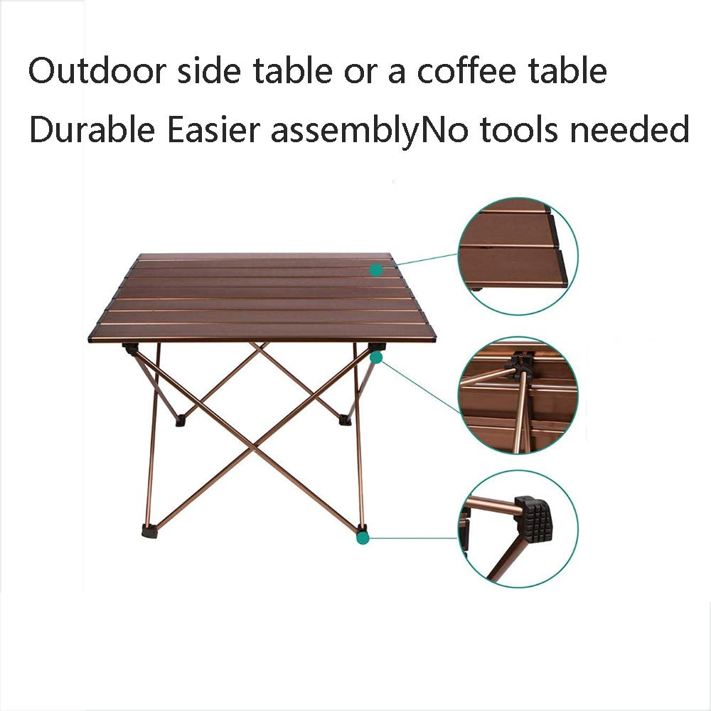Portable Camping Table, Aluminum Table Topanti-Corrosion Rust Prevention Non-Slip Folding Table Picnic Camp Beach Easy Clean,2 by Cxmm (Image #3)