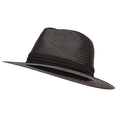 7371fee4b MG Toyo Fedora Hat with Color Band - Black Black OSFM at Amazon ...