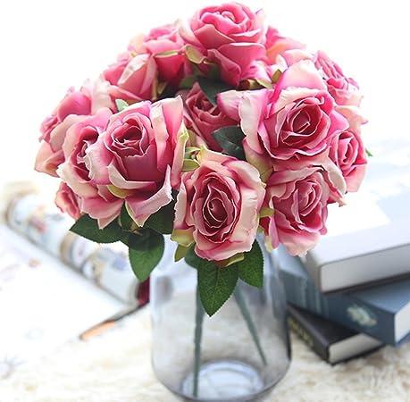 Fiori 5 Petali Rosa.Longra Accessori Per La Casa Decorazione Fiori Artificiali Rose