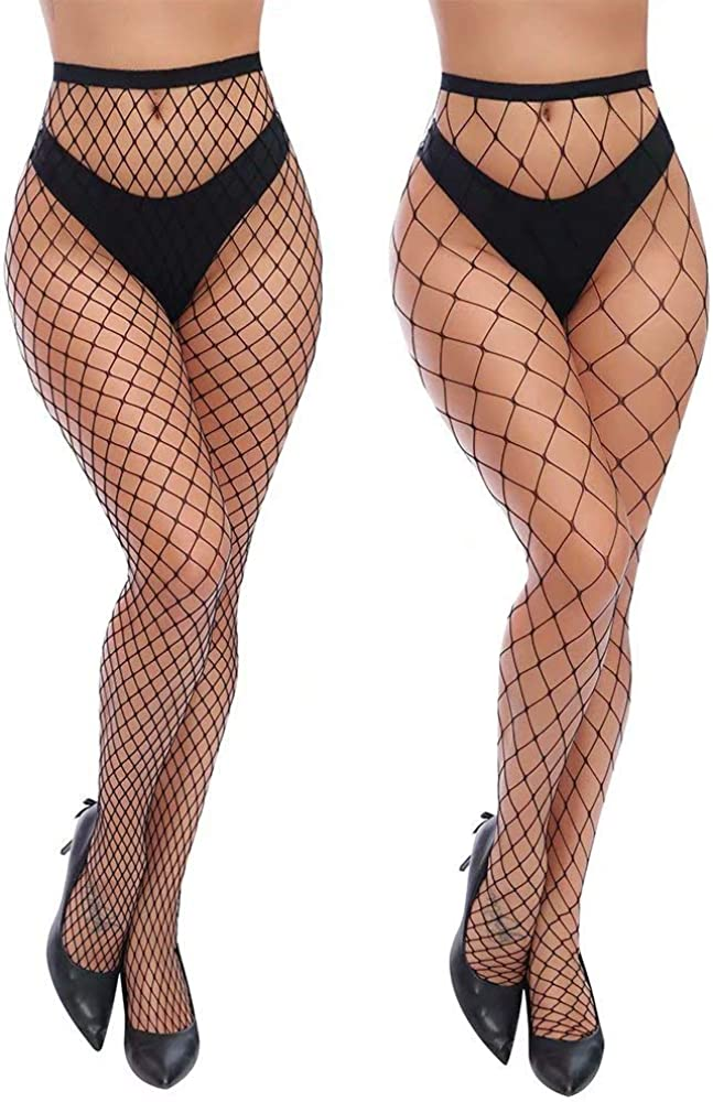 Charmnight Womens High Waist Tights Fishnet Stockings Thigh High Pantyhose 2 Pair(1) at  Women's Clothing store