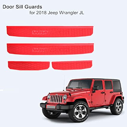 2pcs//Set CheroCar Door Sill Guards Entry Scuff Plate Cover for 2018-2020 Jeep Wrangler JL /& 2020 Jeep Gladiator JT 2 Door Exterior Accessories