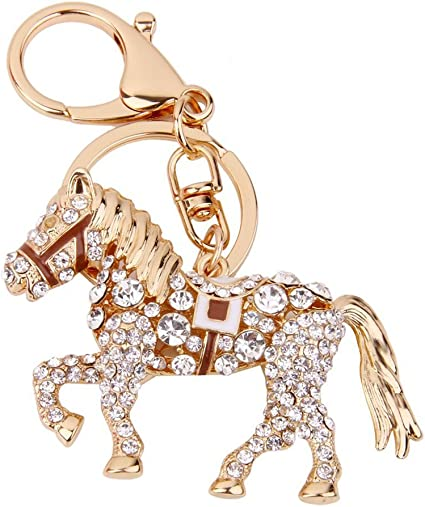 T Carousel Horse Keyring Rhinestone Crystal Charm Key Bag Chain Christmas Gift