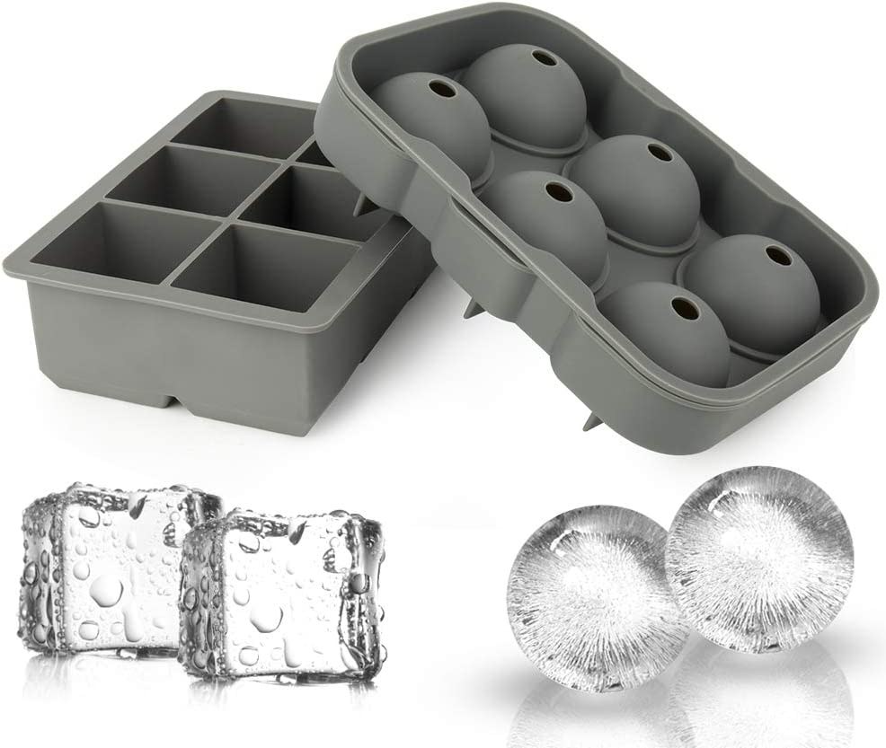 Ticent Ice Cube Trays & Sphere Ice Molds - Set of 2 - Silicone Ice Ball Maker with Lid & Large Square Molds for Whiskey, Cocktail & Brandy(Grey)