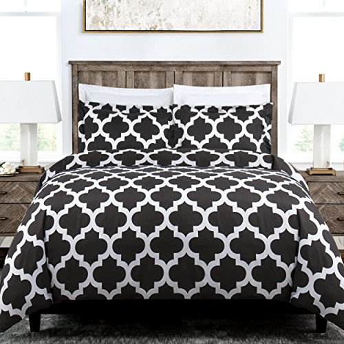 Italian Luxury Quatrefoil Duvet Cover Set - 3-Piece Ultra Soft Double Brushed Microfiber Printed Cover with Shams - Twin/TwinXL - - Double King Sham