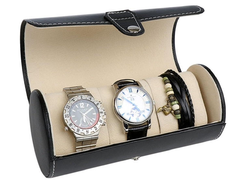 円柱Watch Jerwelryボックスケースキャビネットブラック B01LX3LOBL