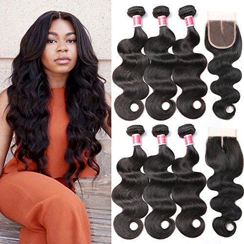 Beauty Princess Brazilian Body Wave with Closure 8a Unprocessed Brazilian Virgin Hair 3 Bundles with Middle Part Closure Natural Black Human Hair Bundles With Closure(18 20 22with 16) by Beauty Princess