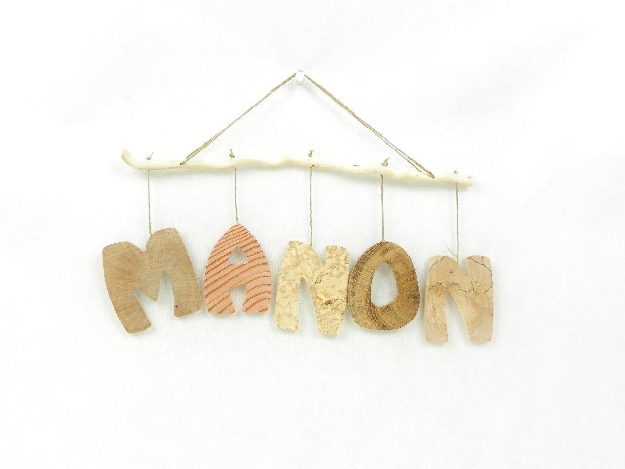 Prénom, lettres en bois, déco enfant / bébé, cadeau de naissance, mobile en bois avec prénom, fait main en bois naturel