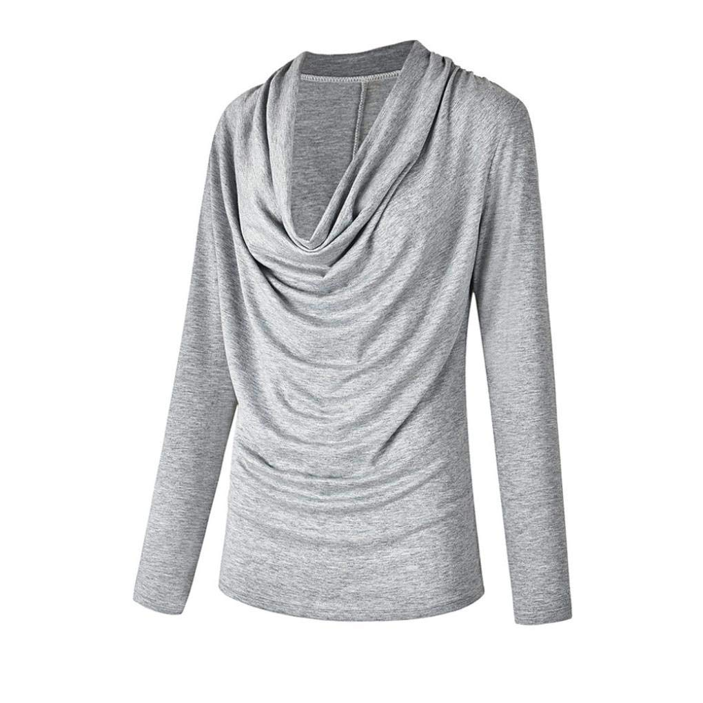 Mujer camiseta blusa tops manga larga otoño,Sonnena Camisa casual para mujer Tops Camisa con cuello en V con cremallera Camiseta suelta Blusa Top ropa de ...